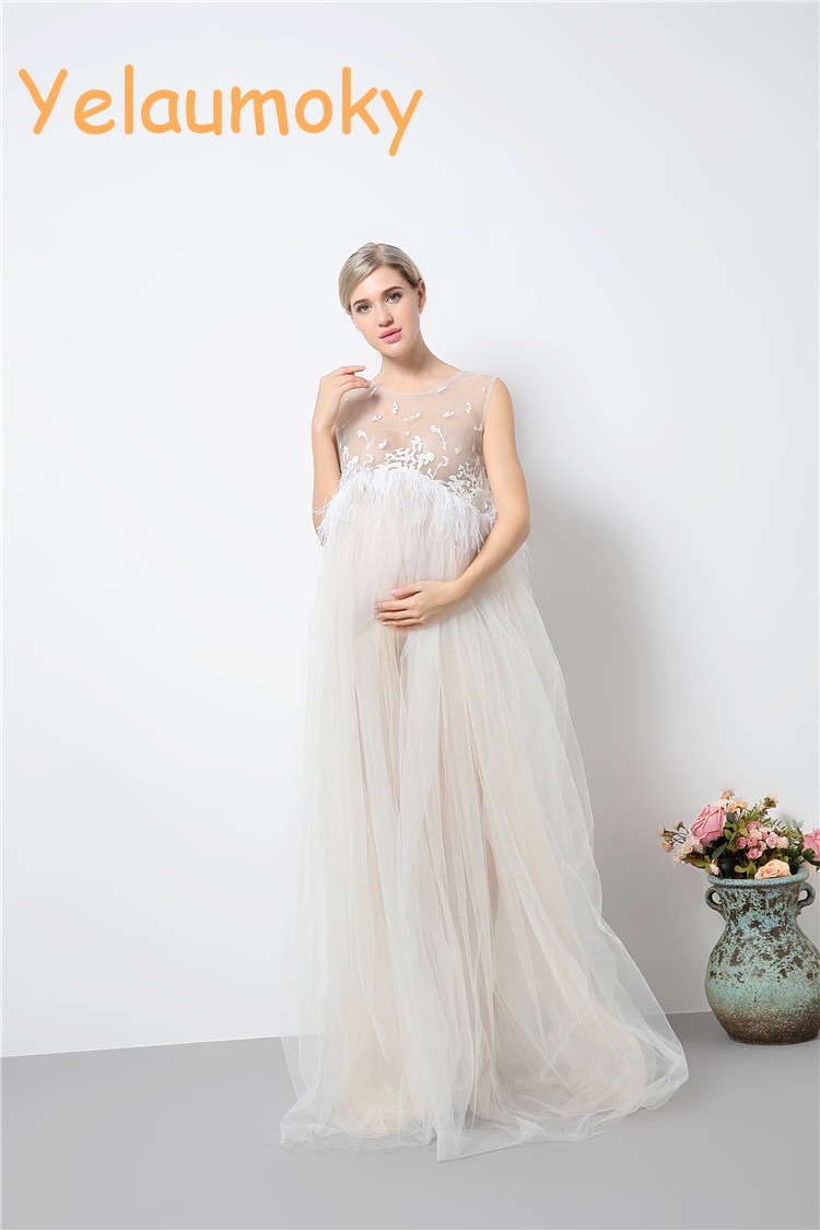 pregnancy sleeveless summer feather dress maternity photography props dress pregnancy maternity clothes garments [Yelaumoky] ibaby крепление для видеоняни m6 m6s