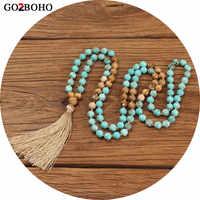 Go2boho Boho Colares Mulheres 108 Contas do Mala Colar Jóias Collier Femme 2019 Mulheres Pedras Naturais Borla 8mm Contas Meditação