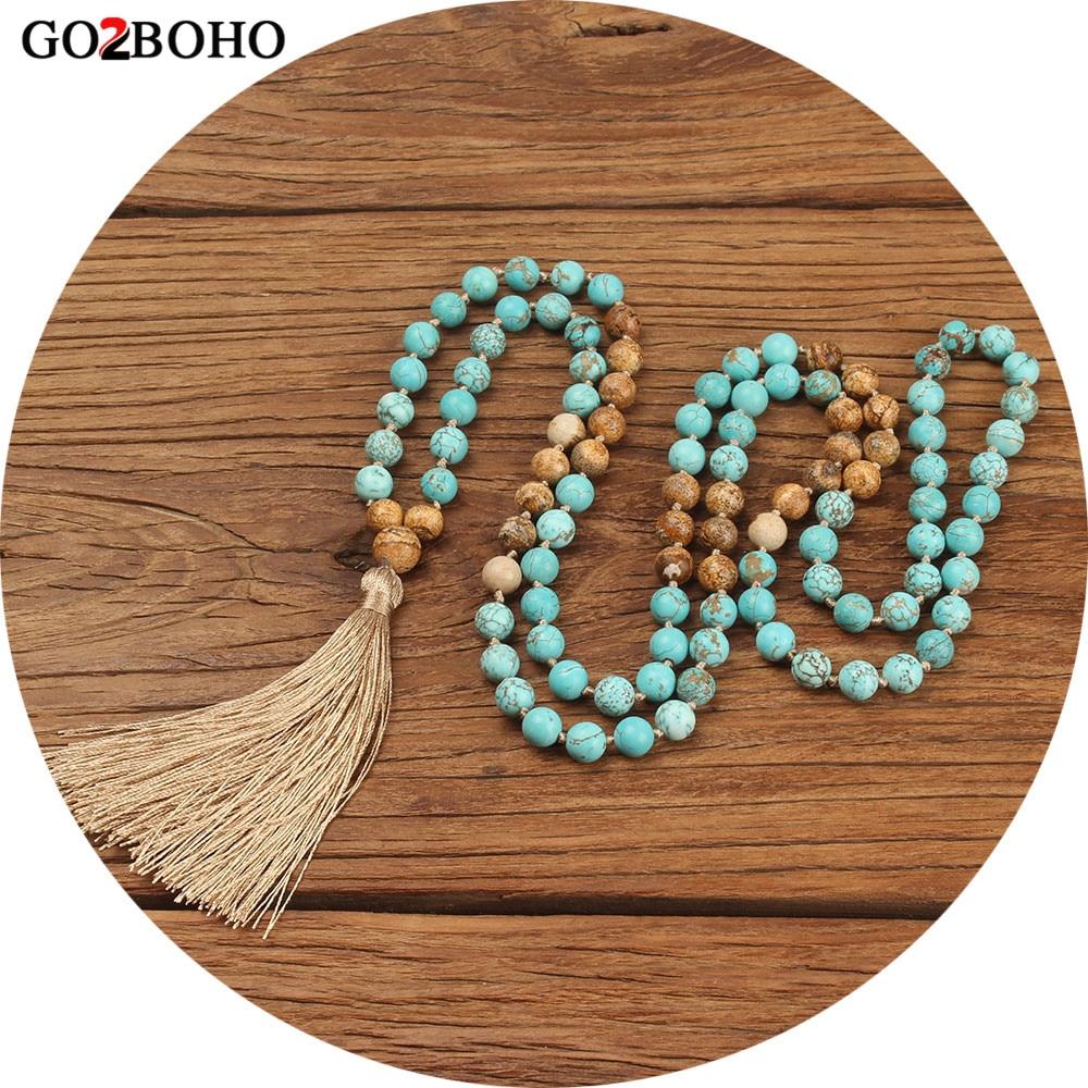Go2boho Boho Jewelry Necklaces Women 108 Mala Beads Necklace Maxi Natural Stones Tassel 8mm Statement 2018 Handmade Meditation