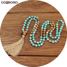 Go2boho Boho Necklaces Women 108 Mala Beads Necklace Jewelry Collier Femme 2019 Women Natural Stones Tassel 8mm Beads Meditation