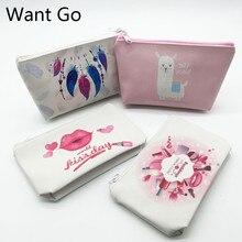 Want Go Sweet Cartoon Print Zip Women Cosmetic Bag Pu Leather Makeup Travel Organizer Beauty Toiletry Case Stotage