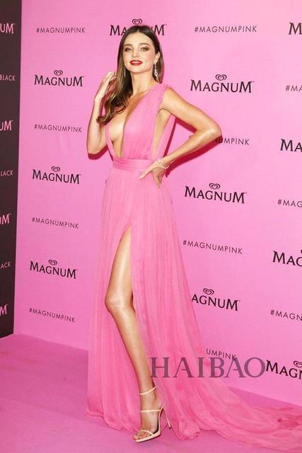 Sexy Deep V Neck Hot Pink Long Evening Dresses Miranda Kerr High