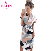 Women Dress Causal Midi Pencil Dress Summer Geometric Multi Color Mid Calf Length Stand Collar Dresses