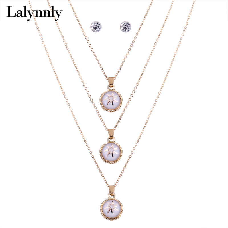 Lalynnly Long Gold Chain Necklace And Crystal Stud Errings Set for Women Fashion Necklace Set 2017 Statement Jewelry Set N61121 ...