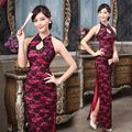 2017 new high split hanging neck length cheongsam backless dress sense of hollow out lace Chinese cheongsam dress 1100