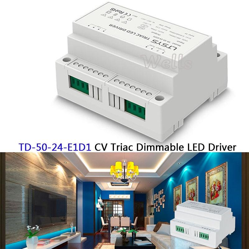 TD-50-24-E1D1;200-240VAC input,Output DC24V 2.1A 50W CV intelligent Triac Dimmable LED Driver Triac Push Dim nte electronics nte5652 triac 400v 3a to 5 50 pieces