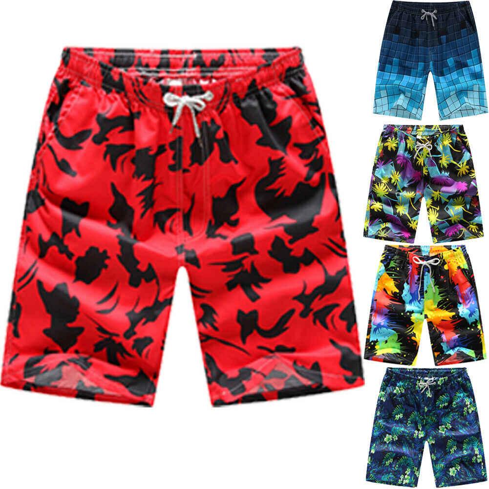 Hot Mens Board Curto Impressão Swimwear Maiôs de Praia Prancha de Surf Wear Casual Masculino Solto Sunga Shorts Quick Dry