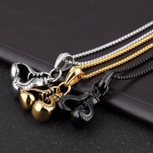 Double 3D Boxing Glove Pendant Necklace in Stainless Steel – Silver, Gold, Black