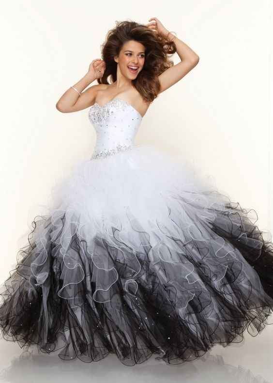 Cecelle 2019 Vintage1950s Gothic Black And White Ball Gown Wedding Dresses  Corset Beaded Ruffles Tulle Colorful d258a66cadc3