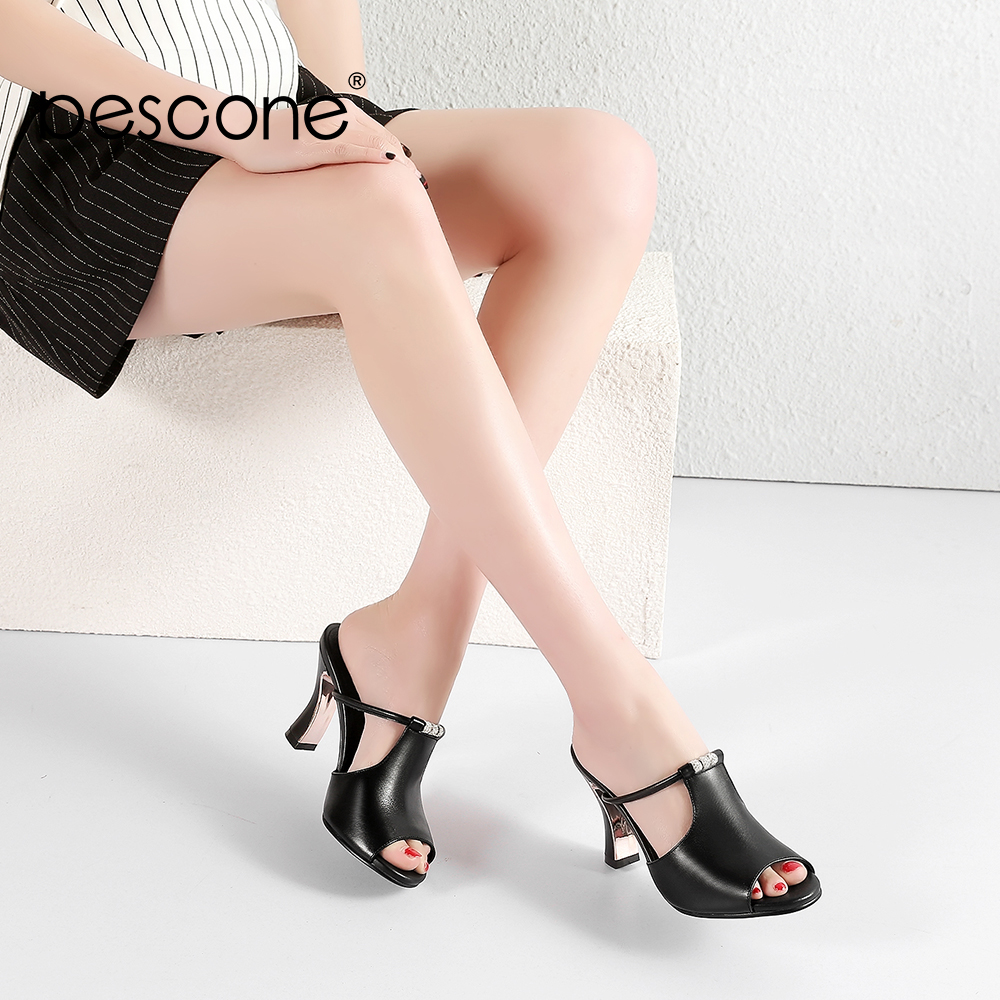 BESCONE Black White Mules Spring Summer 8 5cm Supper High Electroplating Heel Fish Mouth Pumps Real