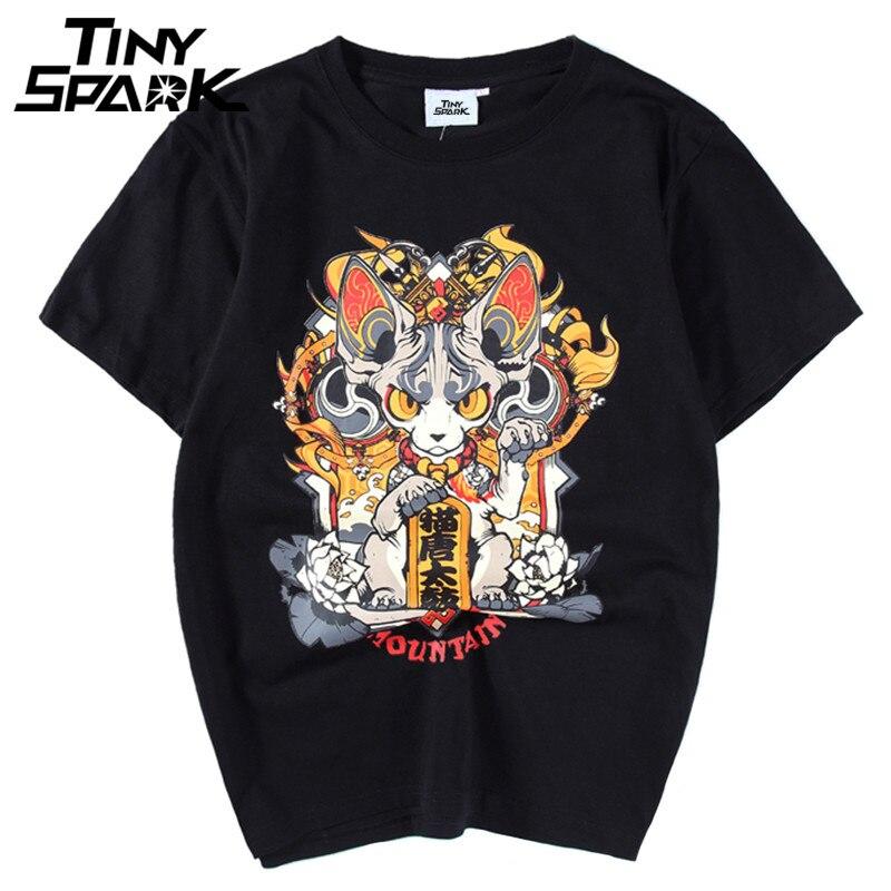 Harajuku Japanese Anime   T     Shirt   Cartoon Cat New 2018 Summer Hip Hop   T  -  shirt   Cotton Letter Print Top Tees Funny Tshirt Streetwear