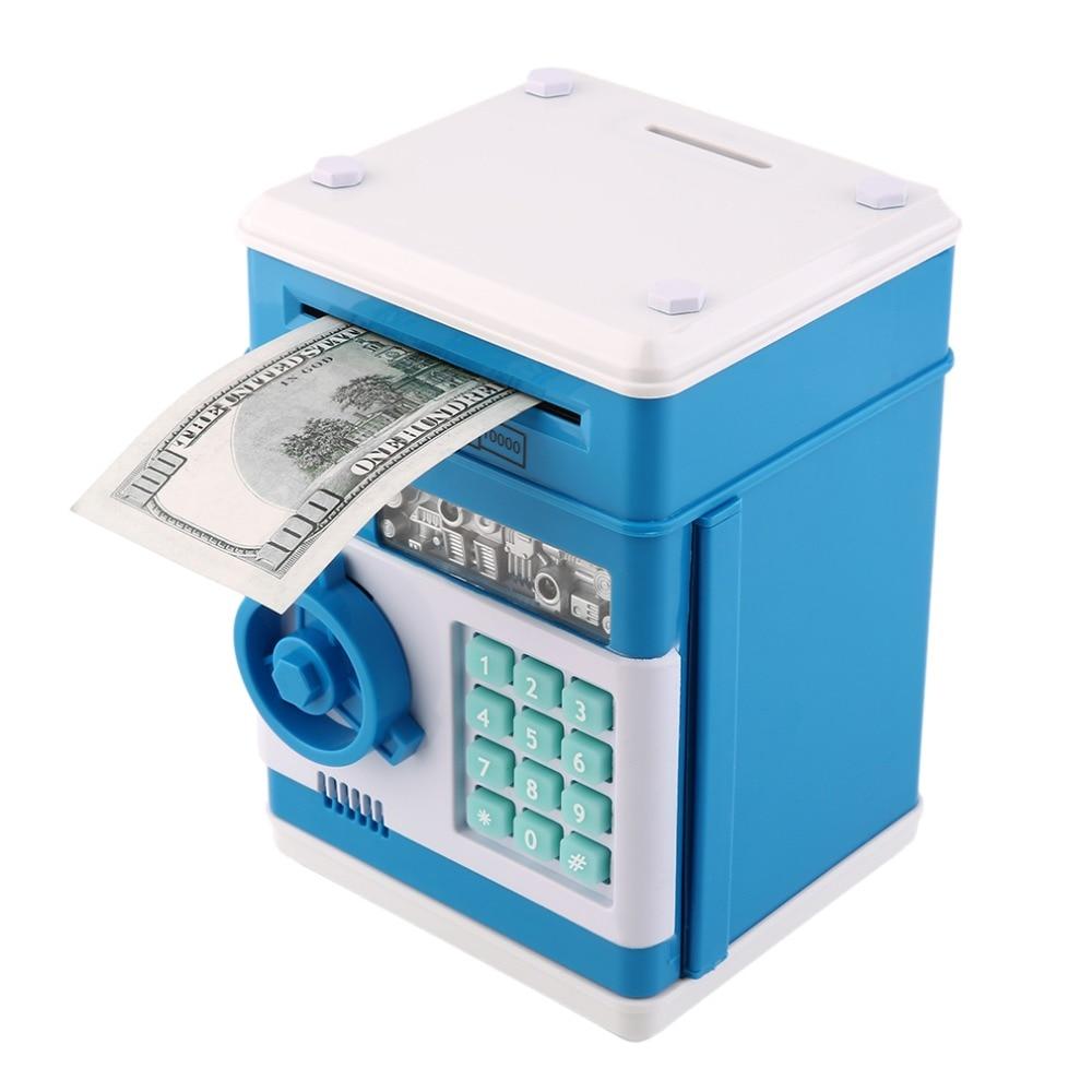 Kids electronic money safe box password saving bank atm for Home money box