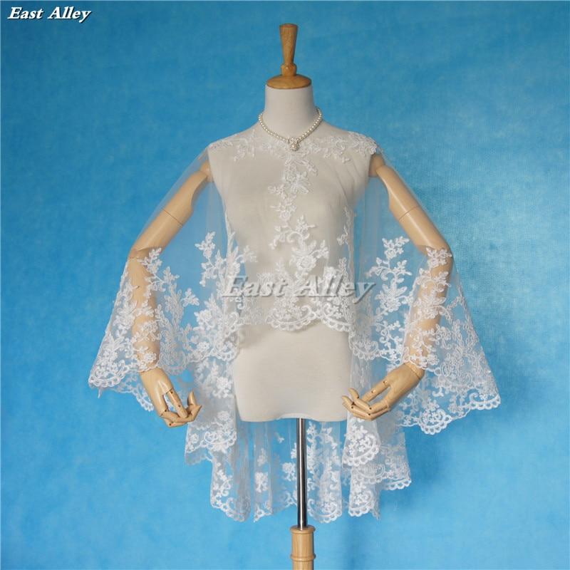 Bridal Jacket Bolero Wedding Shawl Wraps Cape White//Ivory Shrug Lace Applique