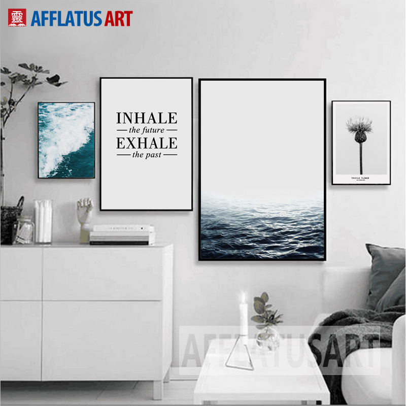 Nordic Minimalism Sea Landscape Quotes Væg Kunsttryk Plakat Lærred Maleri Wall Pictures Til Stue Quadro Home Decor