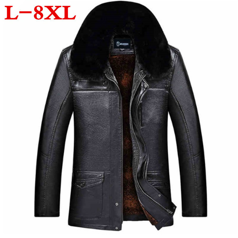 2018 Plus size 8XL 7XL 6XL Brand Winter Thick Leather Garment Casual flocking Leather Jacket Mens Clothing Leather Jacket Men