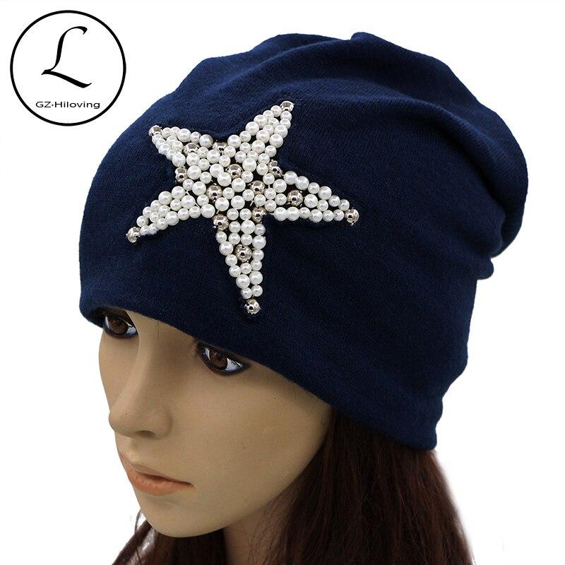 GZHILOVINGL Women Beanie Cotton Blended Handmade Star Skullies Beanies Slouch Hat Ladies Cap Black Knitted Bonnet Hats 61224