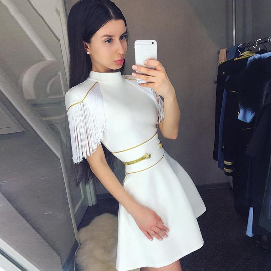 Adyce 2019 New Summer Women White Tassel Bandage Dress Sexy Short Sleeve Mini Club Dress Vestidos Elegant Celebrity Party Dress
