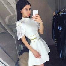 Adyce 2019 nouveau été femmes blanc gland robe de pansement Sexy à manches courtes Mini Club robe Vestidos élégant célébrité robe de soirée