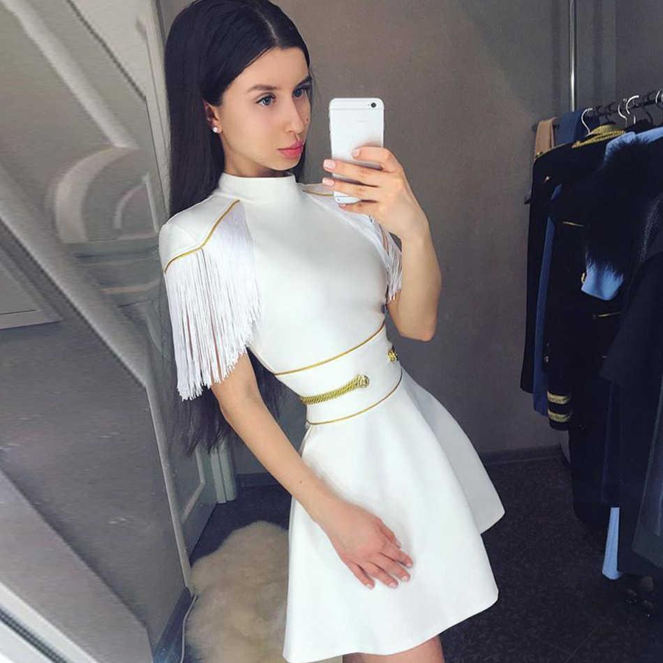 e60d09ace64 Adyce 2019 новое летнее женское Бандажное платье сексуальный белый короткий  рукав с кисточками Мини-клуб