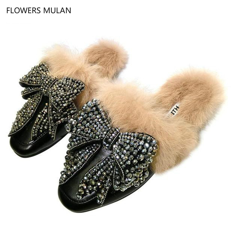 Soft Leather With Fur Women Slipper Indoor Outside Shoes Woman Crystal Bow Sapatos Mulher Street Fashion Flats & LoafersSoft Leather With Fur Women Slipper Indoor Outside Shoes Woman Crystal Bow Sapatos Mulher Street Fashion Flats & Loafers