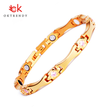 Oktrendy Gold Stainless Steel Healthcare Magnetic Bracelet with Pink Rhinestones Friendship Bracelets for Woman