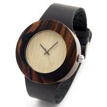 Природный Ebony Sandwood Деревянные мужская Черный Круглый Кожаный Часы Luxuly женщин Наручные Часы как Рождественские Подарки Идея C09