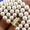 8-9mm blanco perla natural de agua dulce cultivado granos redondos de 3 filas collar de las mujeres de alta calidad regalos de compromiso 17-19 pulgadas MY4787