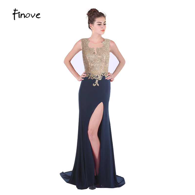 Aliexpress Com Buy Simple Elegant See Through Lace Part: Finove Appliques Evening Dresses Prom Party Gowns Beading