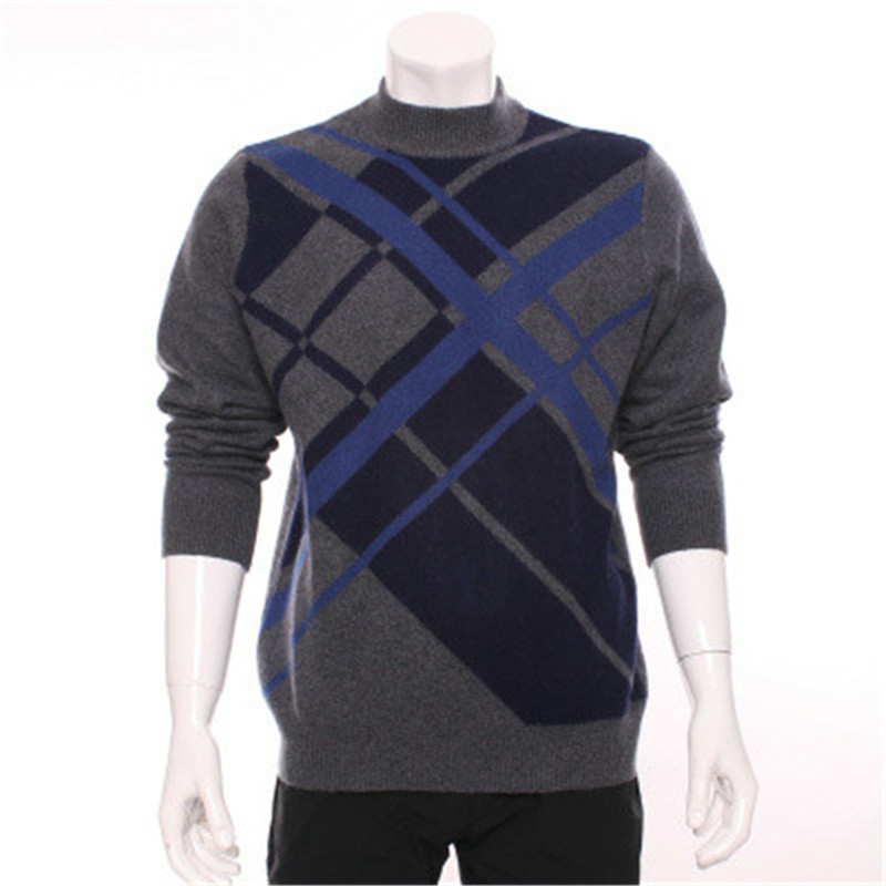 100%goat Cashmere Argyle Thick Knit Men Fashion Pullover Sweater Dark Grey 2color M-2XL