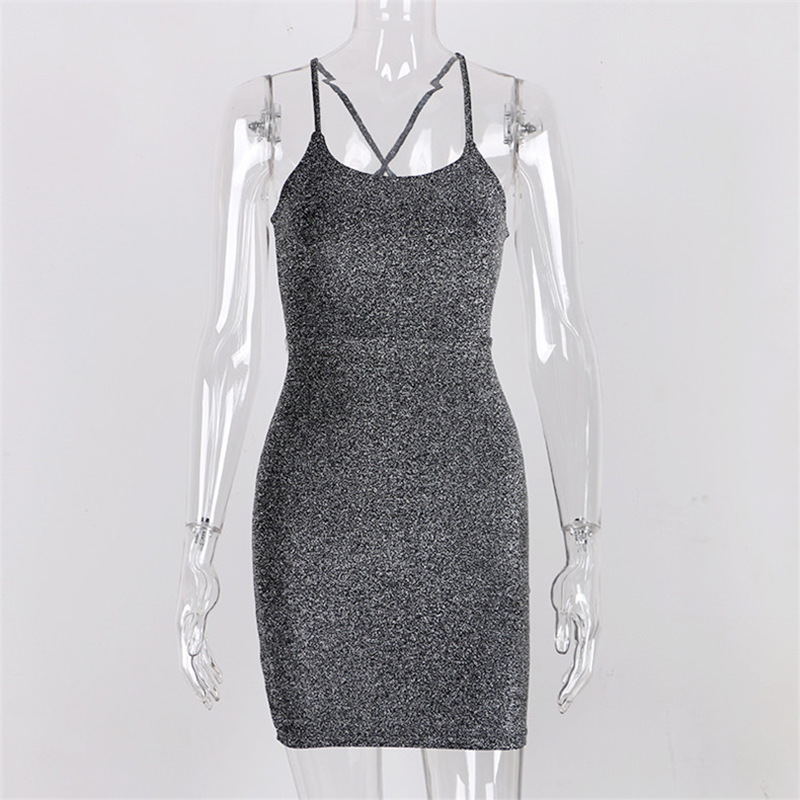 Forefair Mini Party Dress Glitter Sexy Bodycon Spaghetti Strap Backless Off Shoulder Short Sparkle Clubwear Summer Dress Women 4