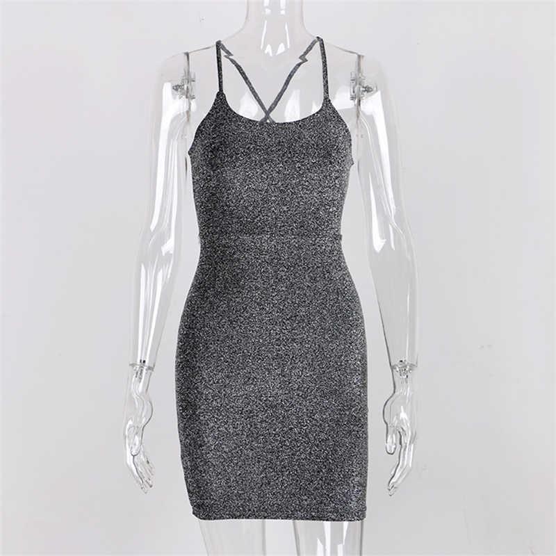Forefair/Мини Вечерние платья с блестками, сексуальное облегающее платье на бретельках с открытой спиной и плечами, короткое блестящее Клубное платье, летнее платье для женщин