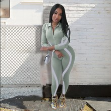 2019 Womens Jumpsuit Reflective Striped Night Version Bodycon Long Sleeve Overalls Bodysuit Sexy Rompers