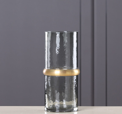 New Cold Gray Copper Ring Straight Glass Vase Living Room Coffee