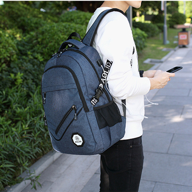 AOLIDA Backpack Men Women Canvas Bag Backpacks Men Travel USB Designer Capacity Male Backpack For School Girls Boys Black 2017