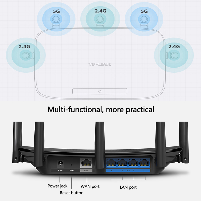 US $65 8 |TP Link Wireless Wifi Router AC1300 Dual Band Wireless Router  802 11ac 2 4G 5 0G TP Link Wifi repeater TL WDR6500 APP Routers-in Wireless