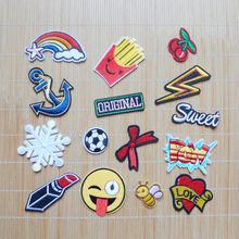 1Pcs Cartoon Smile Bee Anchor Football Iron On Patches Badges Embroidery Applique Sewing for clothing Jeans Garment Accessories(China)
