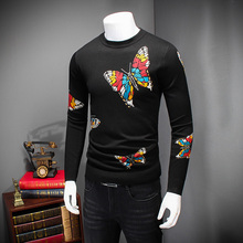 Hot Men Sweaters 2016 Winter Thick Pull Homme Fashion Butterfly Print Pullover Mens Round Collar Slim Fit Casual Mens Jumpers