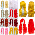 12 Colors Cosplay Party Long Wig High Quality Curly/Wavy Synthetic Full Wigs Rainbow Women Girls Easy & Vogue Dress Halloween