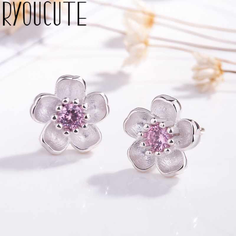 Fashion Silver Color  Zirconia Cheery Flower Earrings For Women Trendy Ladies Earrings Female Statement Party Jewelry Gift