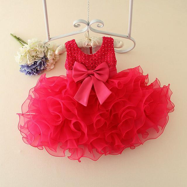 Niñas de las flores de la boda bautizo dress baby girl bow princesa ropa de traje de fiesta para los niños recién nacidos vestidos de cumpleaños 0-2 años