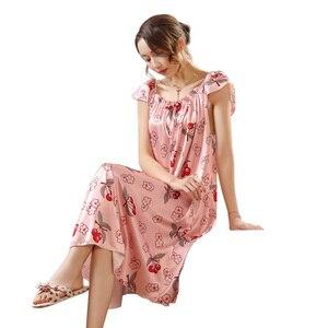 Image 3 - Ladies Nightgown Sleepwear Fashion Small Flower Women Nightgowns Printed,Hot Sale Plus Size 4XL Silk Nightwear For Summer,Autumn