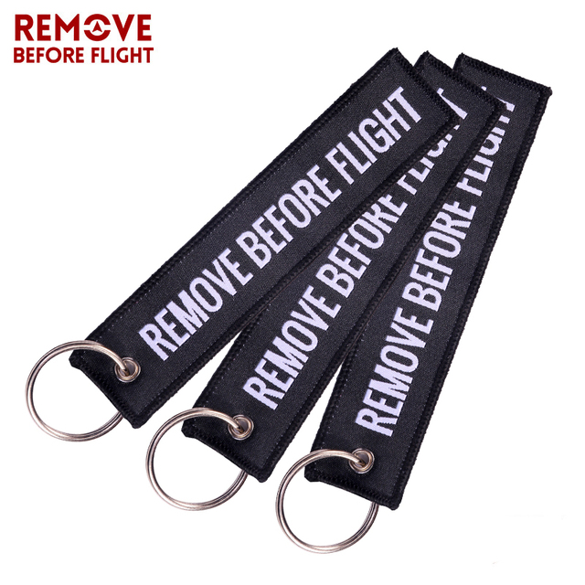 3 PCS/LOT Fashion Jewelry Remove Before Flight Black with White Letters Woven Keychain Aviation Gifts 5.12'' *1.10'' Key Chains