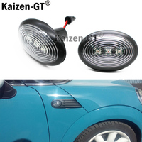OEM Fit Black Smoked Side Marker Lamps With Amber LED Lights For 2006 2014 MKII MINI