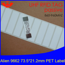 UHF RFID tag Alien 9662 printable PET label 915mhz 900mhz 868mhz 860-960MHZ Higgs3 EPCC1G2 6C smart card passive tags