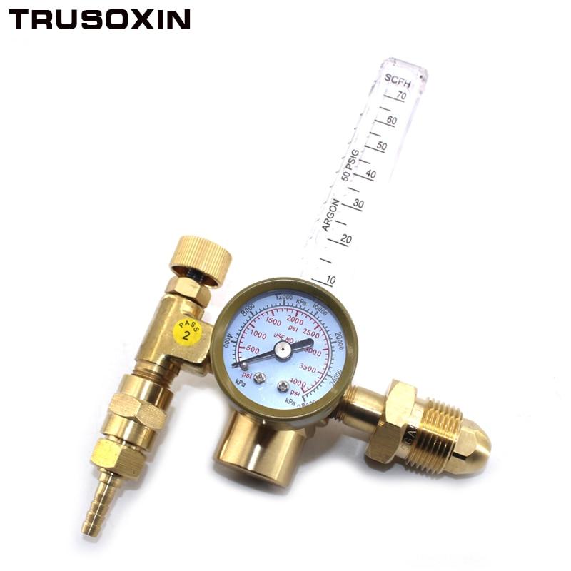 CO2 Argon Pressure Reducer Flow Meter Control Valve Regulator Reduced Pressure Gas Flowmeter Welding Flowmeter Weld Gauge 1pc brass argon co2 gas pressure regulator mig tig welding flow meter gauge w21 8 1 4 thread 0 20 mpa