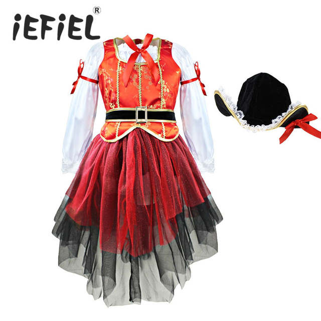 Carnival Halloween Christmas Pirate Girls Party Cosplay Costume for Children  Kids Dress + Hat Outfits Clothes. placeholder ... 2f941a9f2417