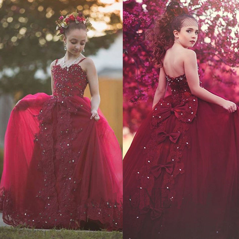 Custom Made Red Girls Pageant Party Gown Princess Birthday Ball Gown Flower Girl Dress for Wedding Size 2-16Y lovely purple ball gown long flower girl dresses for wedding custom made girls pageant gown