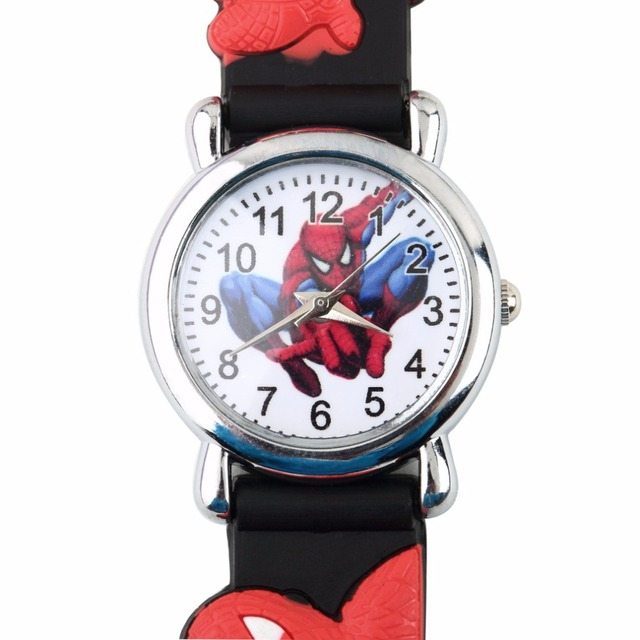 Sports Chilren Cartoon Spider Shape Watch Fashion Cool 3D Rubber Watches Blue Bo