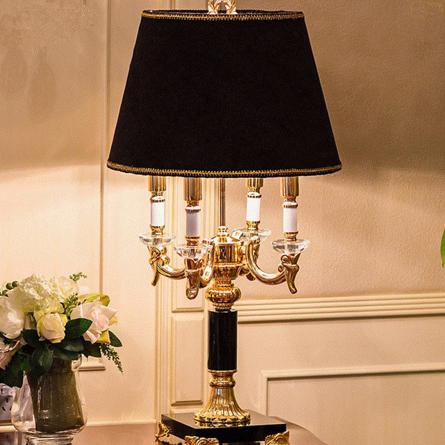 High Quality Luxury Fashion Black Crystal Table Lamp Bedroom Bedside Lamp  Lamps Brief Modern Decoration Table