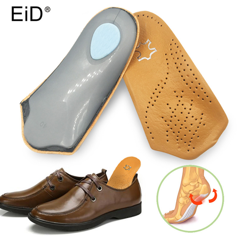 EID 3/4 length Leather insole Flat Foot Orthotic insoles Arch Support 2.5cm Half Shoe Pad Orthopedic Insoles Foot Care Uni